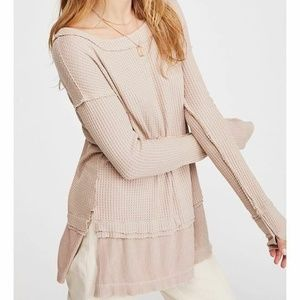 Free People Tan Sand North Shore Thermal Top